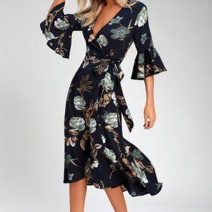 Lulu's Blue Floral Print High-Low Wrap Dress S
